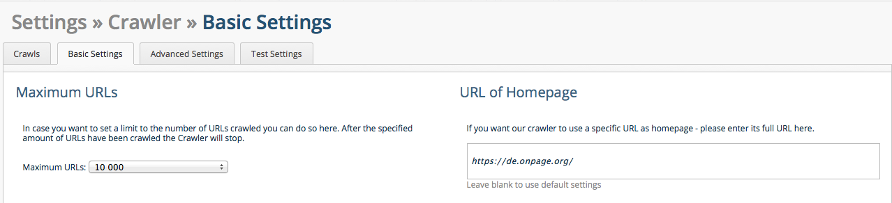 OnPage.org Crawler Settings