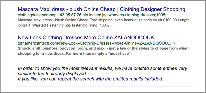 duplicate content in the search results