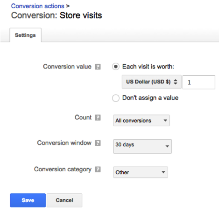 adwords Offline conversions In-Store Visit