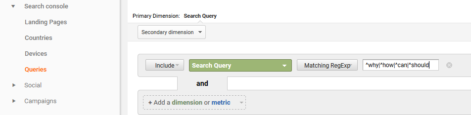 Finding keywords in Google Analytics