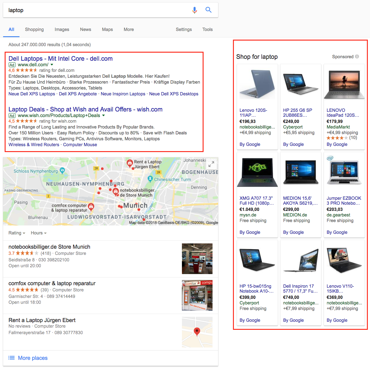 SERPs for term laptop
