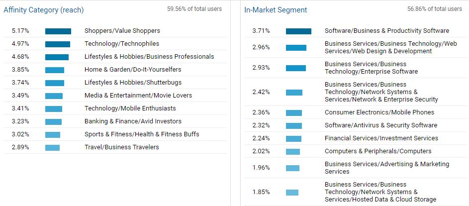 Google Analytics Interests