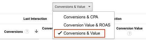 Conversion value selection