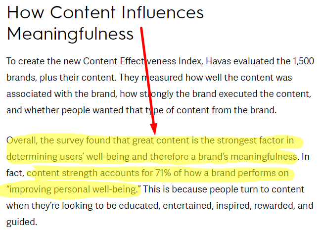text highlighting the importance of content for brands
