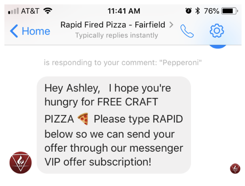 Messenger-marketing-example-Rapid-Pizza WhatsApp marketing WhatsApp Octane AI Morph AI MobileMonkey Messenger marketing ManyChat Facebook Messenger Facebook Chatfuel Chatbot