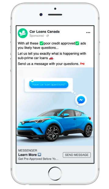 Messenger-marketing-example-car-loans-canada WhatsApp marketing WhatsApp Octane AI Morph AI MobileMonkey Messenger marketing ManyChat Facebook Messenger Facebook Chatfuel Chatbot