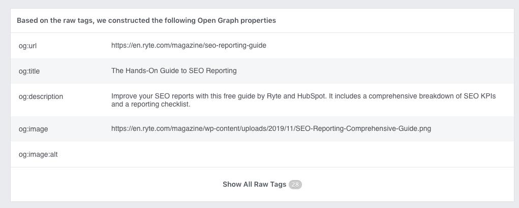 Facebook-Debugger-OG-tags twitter cards Twitter open graph tags open graph optimization Open graph Facebook CTR click-through rate