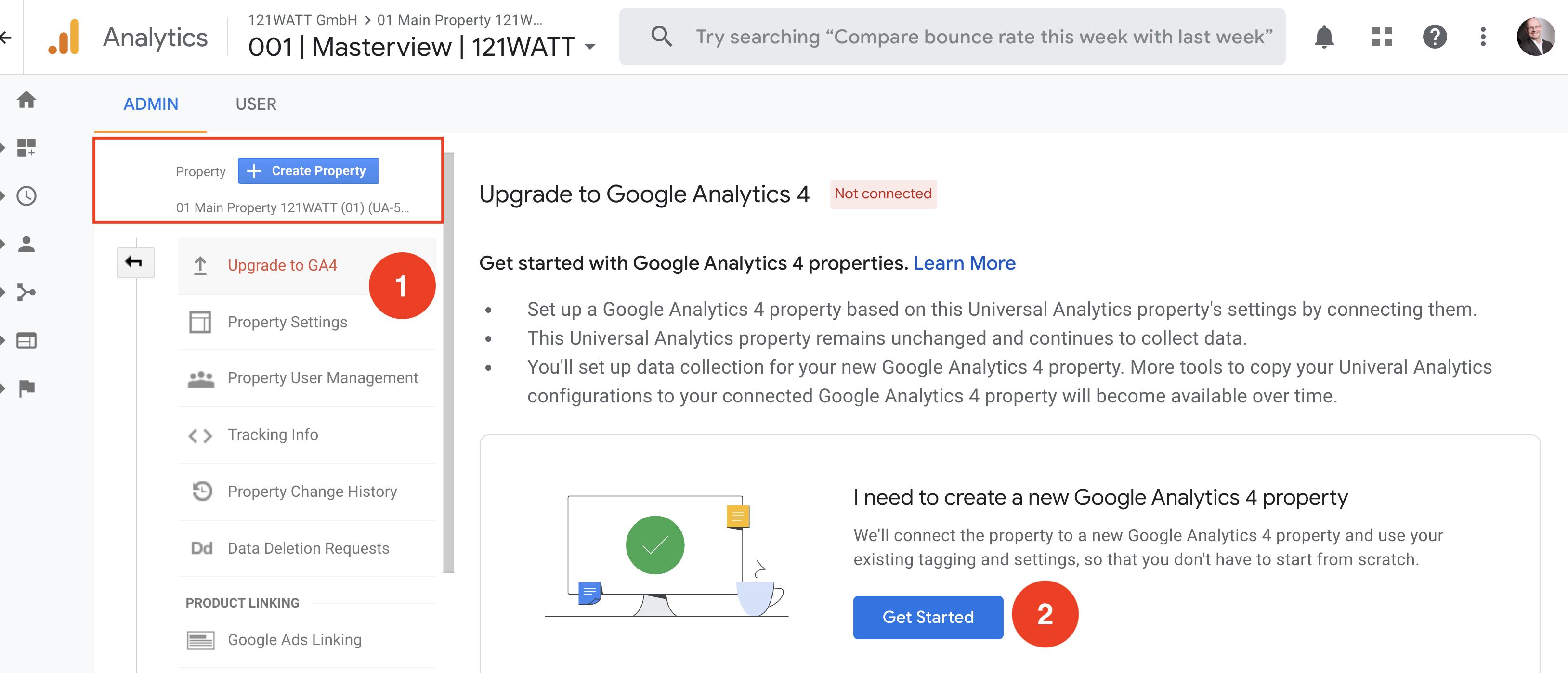 upgrade-google-analytics-4-ryte universal analytics Google Analytics 4 property Google Analytics 4 GA4 property GA4