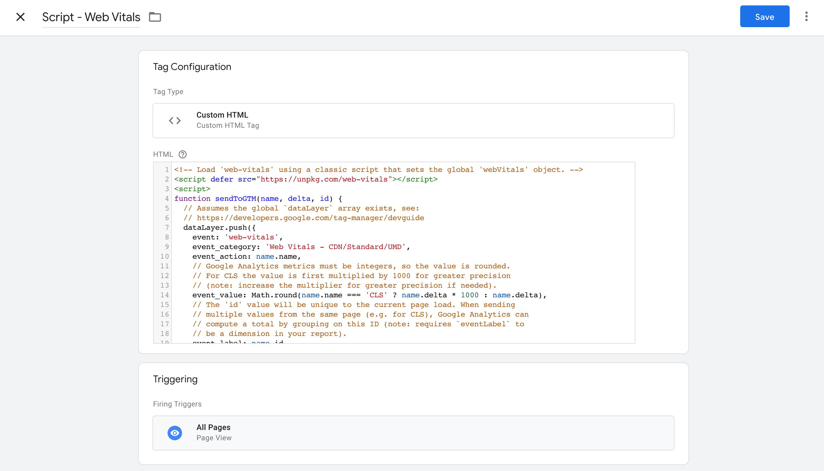 gtm_html-script_en web vitals measure web vitals measure field data Google Tag Manager field data
