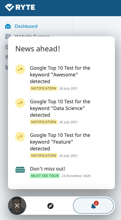 Notification center with messages about new Top 10 tests